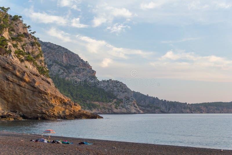 Playa de Coll Baix cerca de Alcudia, Mallorca, Espa?a imagenes de archivo