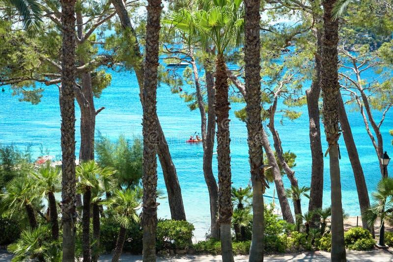 Playa de Formentor Cala Pi de la Posada, praia bonita no tampão Formentor, Palma Mallorca, Espanha fotografia de stock royalty free