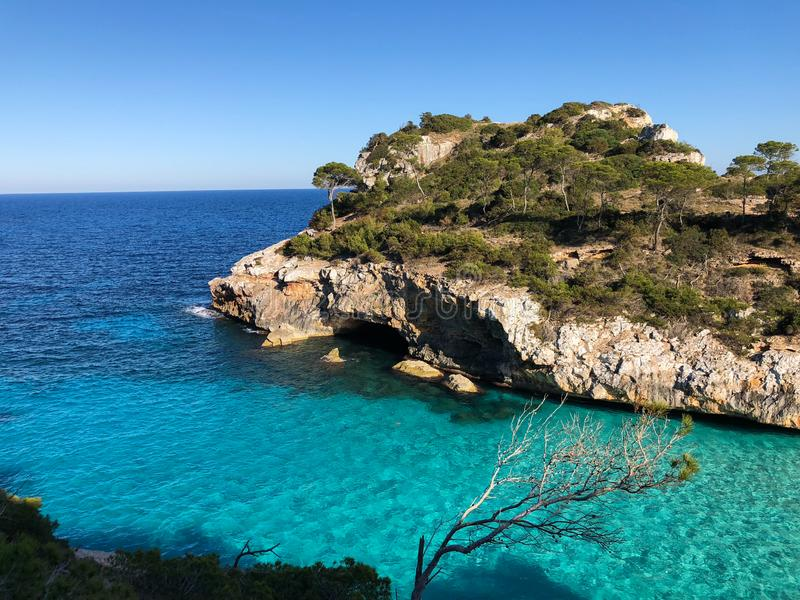Playa De Formentor Cala Pi De Los angeles Posada, pi?kna pla?a przy nakr?tk? Formentor, Palma Mallorca, Hiszpania obrazy stock