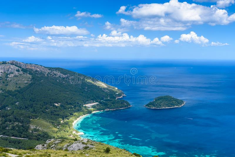 Playa DE Formentor - mooie kust van Mallorca - Spanje, Europa stock foto's