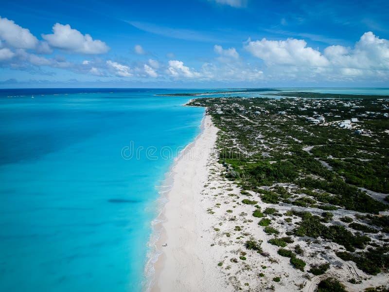 Playa de Grace Bay de la foto del abejón, Providenciales, turcos y Caicos fotografía de archivo