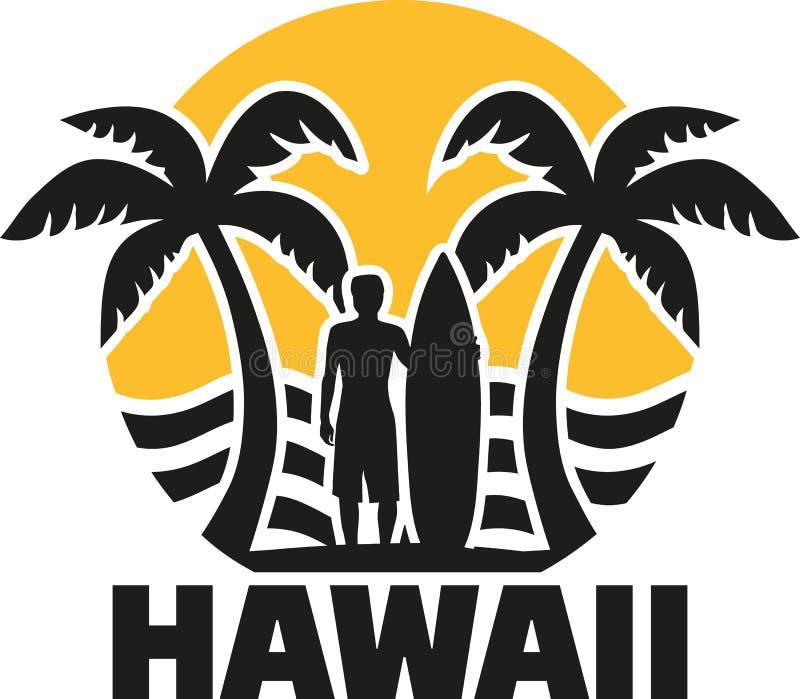 Playa de Hawaii con las palmas y la persona que practica surf stock de ilustración