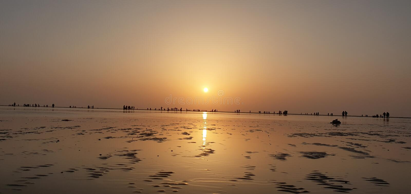 Playa de Jampore, daman, Gujarat, la India imagen de archivo