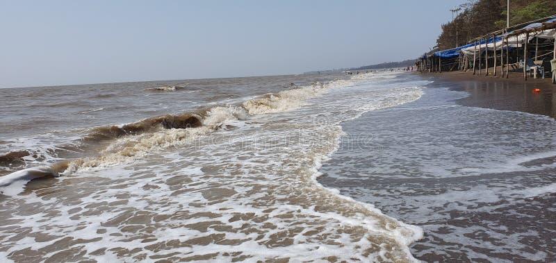 Playa de Jampore, daman, Gujarat, la India fotografía de archivo