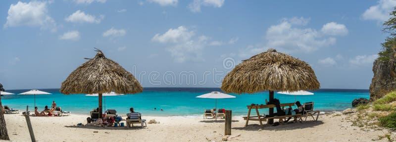 Playa de Knip - opiniones de Curaçao foto de archivo