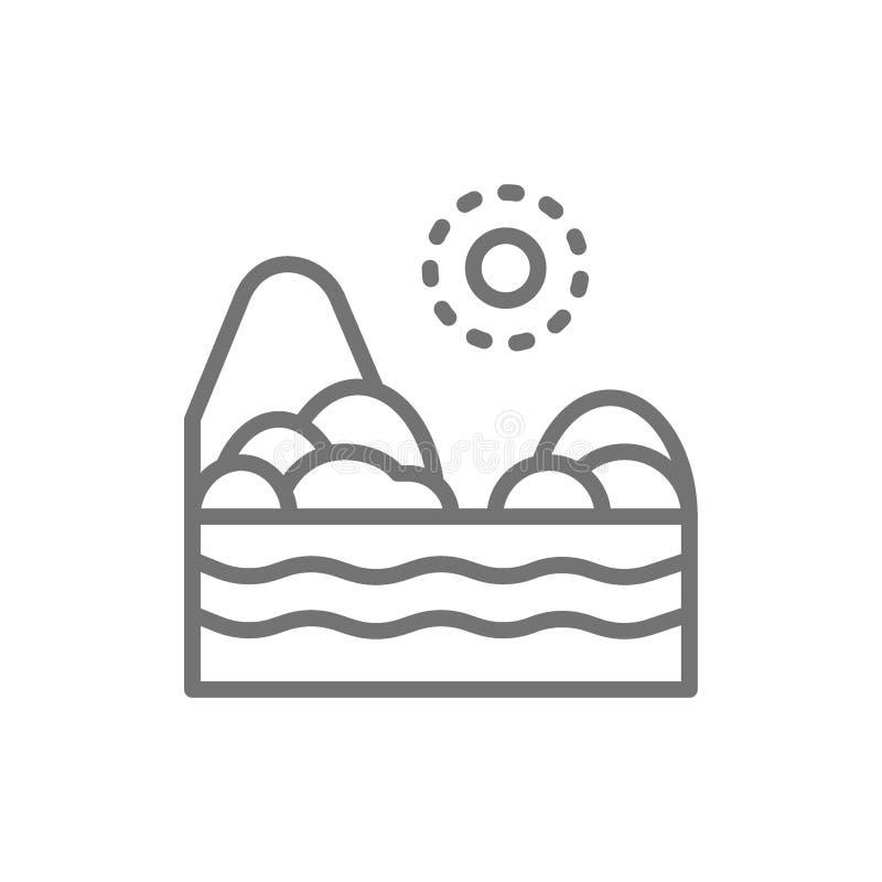 Playa de la arena con el mar, línea brasileña icono del paisaje ilustración del vector