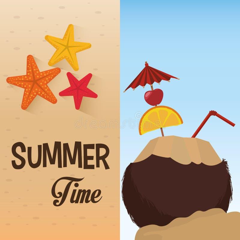 Playa de la arena de la estrella del coco del cóctel del tiempo de verano ilustración del vector