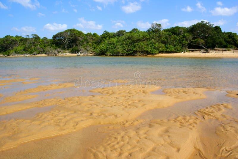 Playa de la arena en la reserva de naturaleza de la bahía de Kosi, Suráfrica foto de archivo libre de regalías
