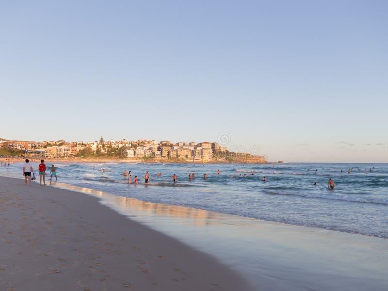 Playa de la ciudad de Sydney en la puesta del sol fotografía de archivo libre de regalías