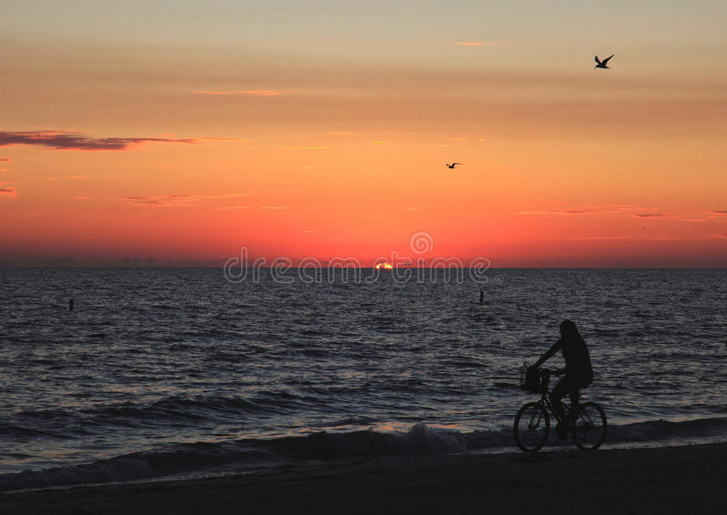 Playa de la Florida en la puesta del sol fotos de archivo libres de regalías