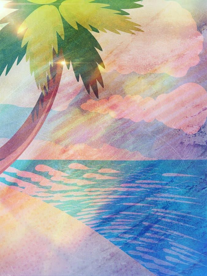 Playa de la historieta del Grunge con la palma stock de ilustración