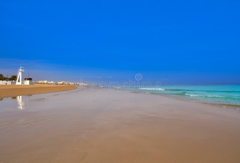 Playa de la Mata beach in Torrevieja Spain. Playa de la Mata beach in Torrevieja of Alicante in Spain at Costa Blanca stock photography