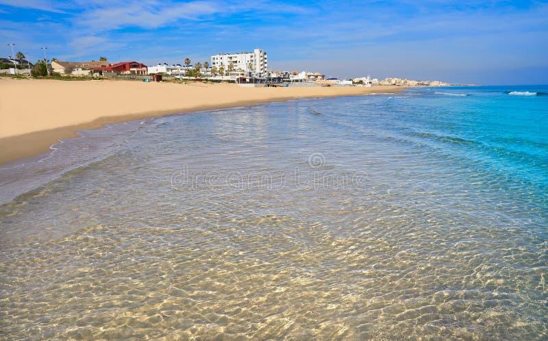 Playa de la Mata beach in Torrevieja Spain. Playa de la Mata beach in Torrevieja of Alicante in Spain at Costa Blanca royalty free stock image