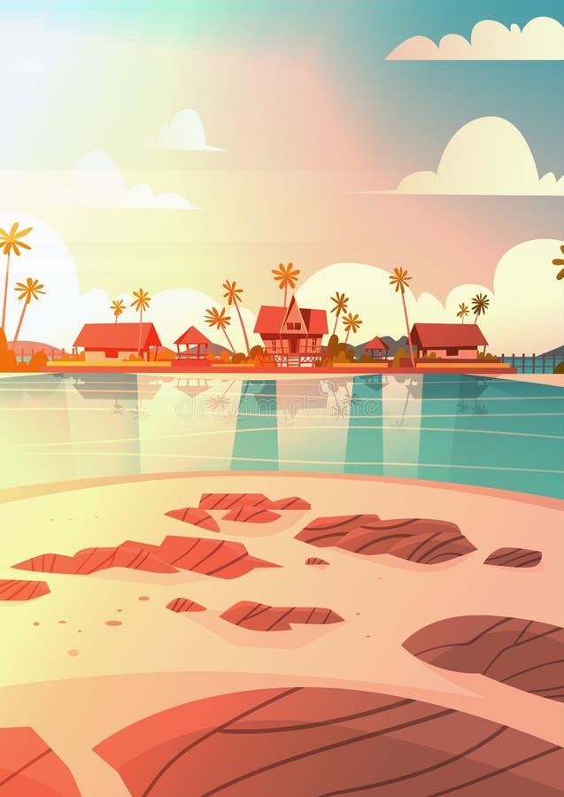 Playa de la orilla de mar con concepto hermoso de las vacaciones de verano del paisaje de la playa de la puesta del sol del hotel stock de ilustración