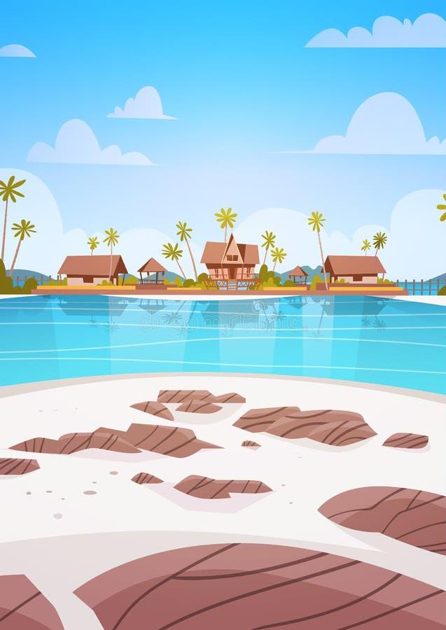 Playa de la orilla de mar con concepto hermoso de las vacaciones de verano del paisaje de la playa del hotel del chalet stock de ilustración