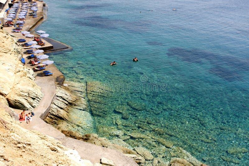 Playa de la roca - Creta imagen de archivo