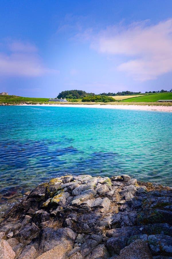 Playa de la ruina, Tresco, islas de Scilly, Cornualles, Reino Unido imagen de archivo