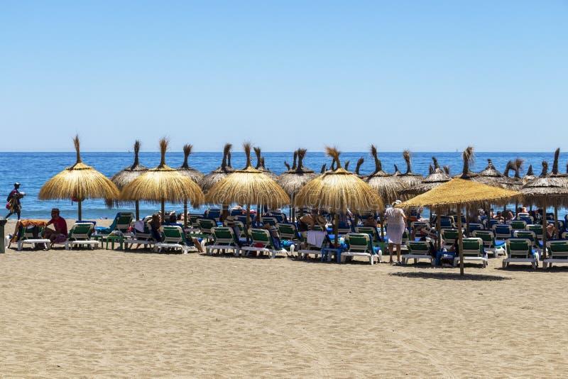 Playa de la Venus i Marbella, Spanien royaltyfri fotografi