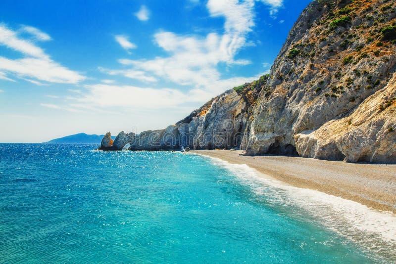 Playa de Lalaria, Skiathos, Grecia foto de archivo