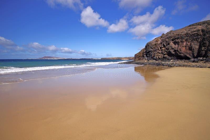 Playa de Lanzarote Playa del Pozo en la costa Papagayo fotografía de archivo