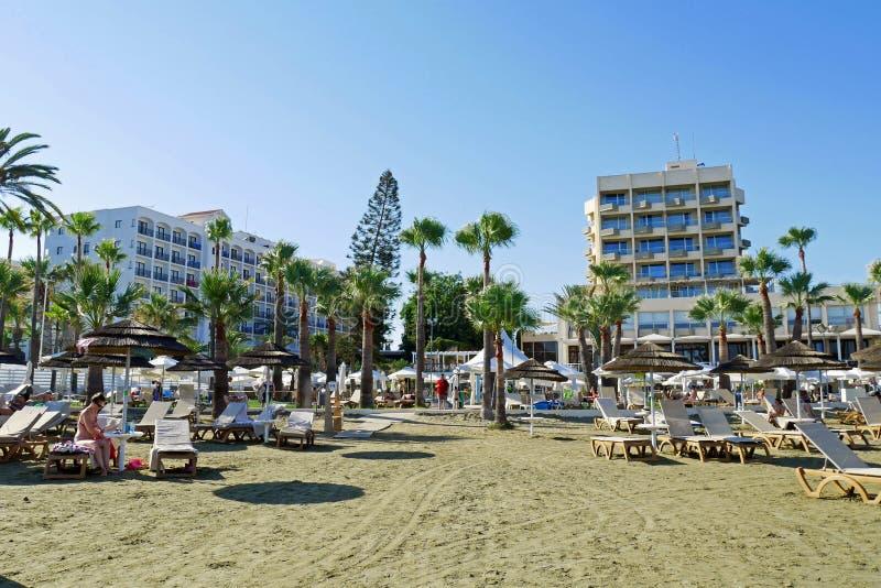 Playa de Larnaca, Chipre imagen de archivo libre de regalías
