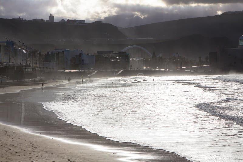 Playa de Las Canteras, Las Palmas de Gran Canaria foto de stock royalty free