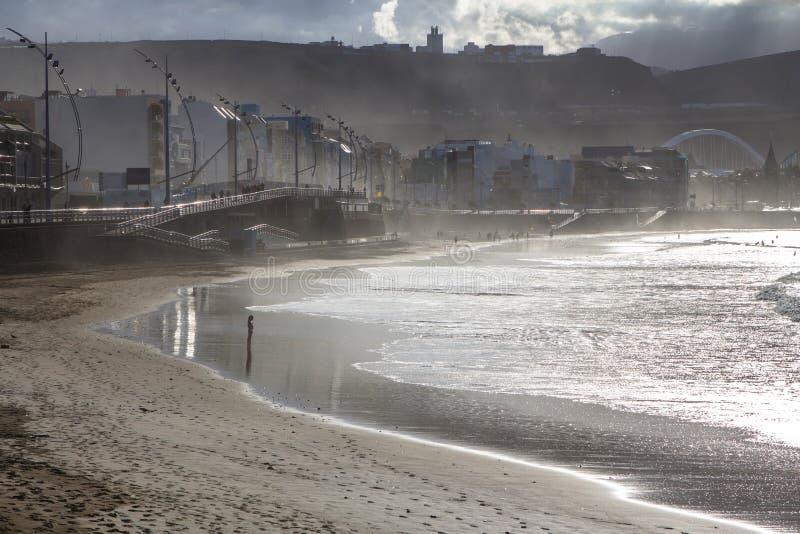 Playa de Las Canteras, Las Palmas de Gran Canaria fotografia de stock