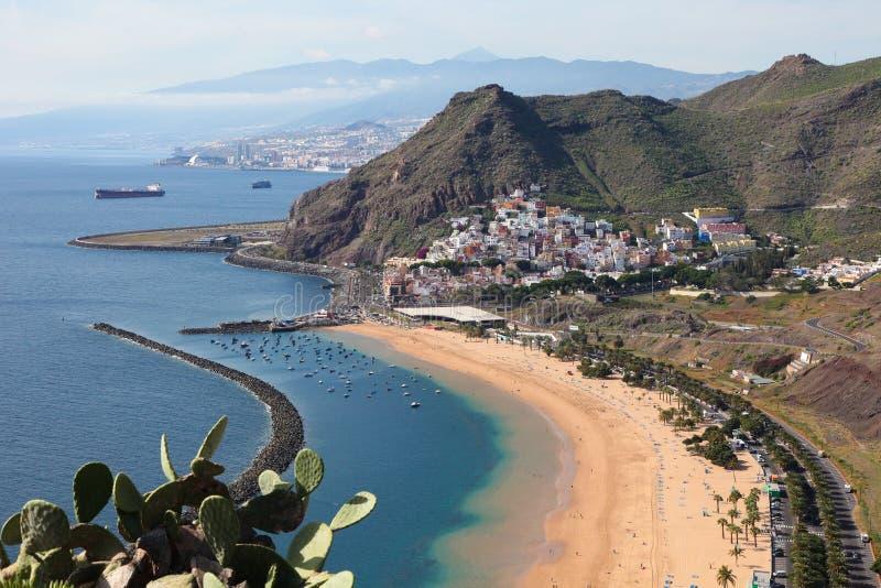 Playa de Las Teresitas. A famous beach near Santa Cruz de Tenerife in the north of Tenerife, Canary Islands, Spain stock images