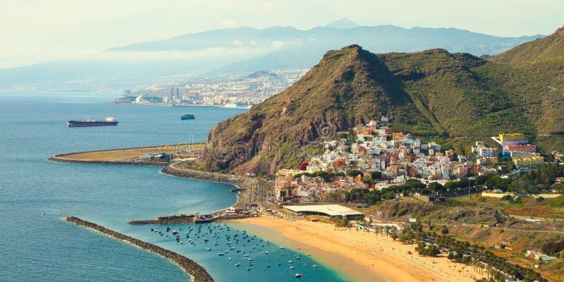 Playa de Las Teresitas. A famous beach near Santa Cruz de Tenerife in the north of Tenerife, Canary Islands, Spain stock image