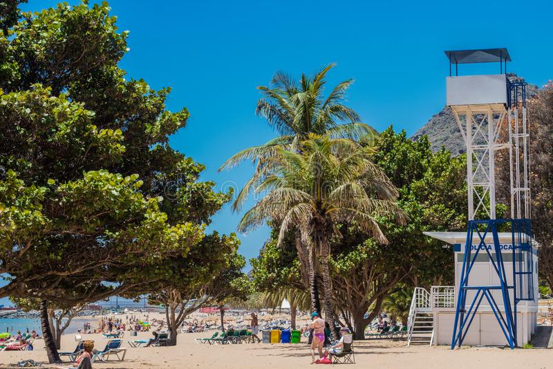 Playa de Las Teresitas près de Santa Cruz de Tenerife images stock
