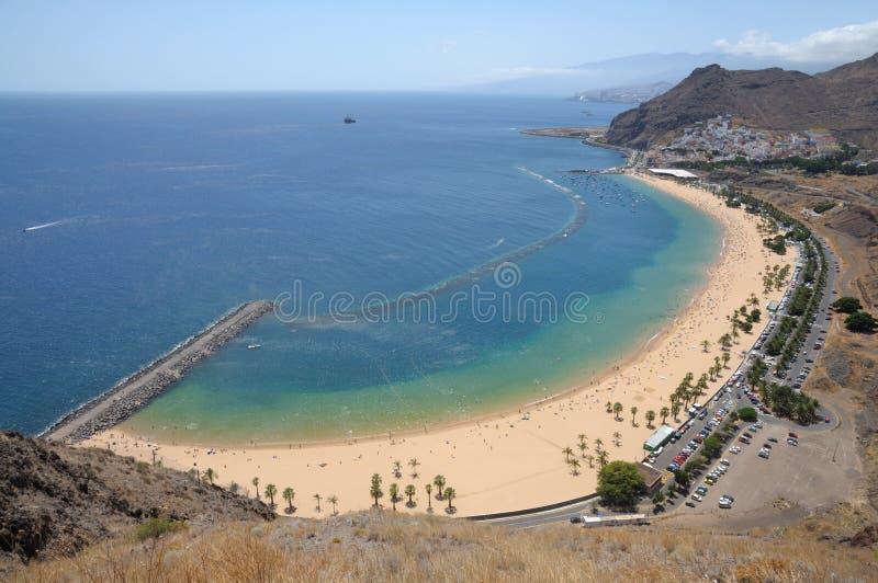 Playa de Las Teresitas, Tenerife Spain. Aerial view of the Playa de Las Teresitas beach, Canary Island Tenerife, Spain stock photos