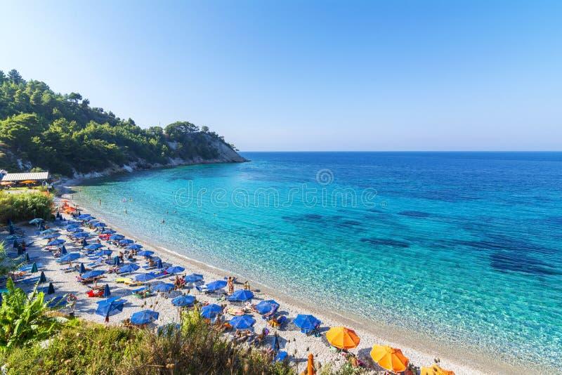 Playa de Lemonakia en la isla de Samos imagen de archivo libre de regalías