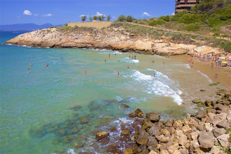Playa de Llenguadets - Coast in Salou, Costa Daurada, Spain. Beautiful sea front and beaches in Salou, Costa Daurada, Spain royalty free stock photo
