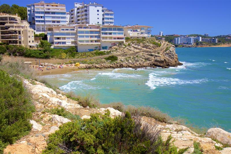 Playa de Llenguadets - Coast in Salou, Costa Daurada, Spain. Beautiful sea front and beaches in Salou, Costa Daurada, Spain stock images