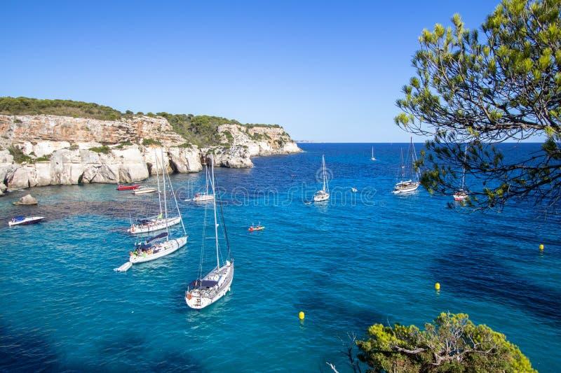Playa de Macarella, Menorca, España imagen de archivo