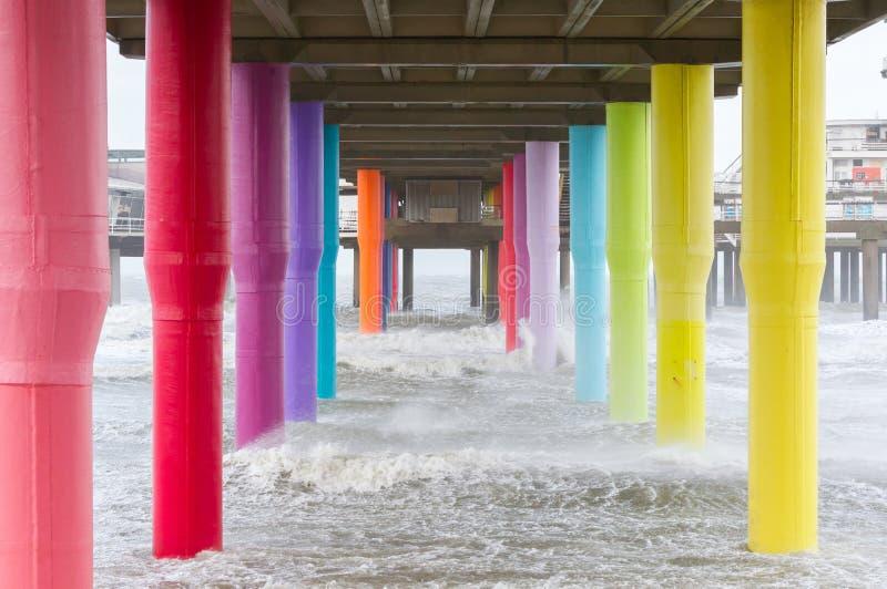 Playa de Mar del Norte y embarcadero de Scheveningen imágenes de archivo libres de regalías