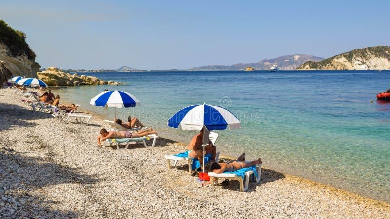 Playa de Marathias, isla de Zakynthos, Grecia foto de archivo