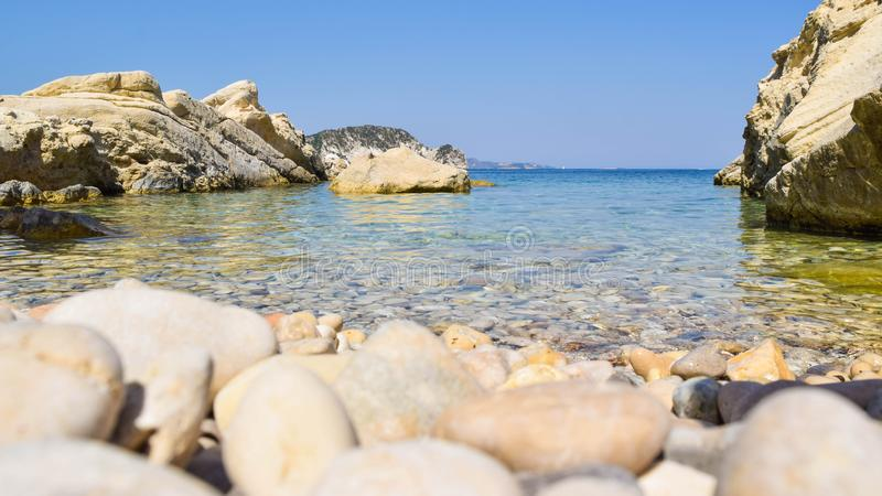 Playa de Marathias, isla de Zakynthos, Grecia fotografía de archivo libre de regalías