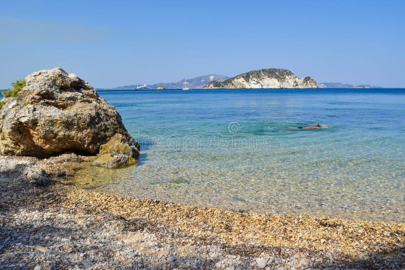 Playa de Marathias, isla de Zakynthos, Grecia fotos de archivo