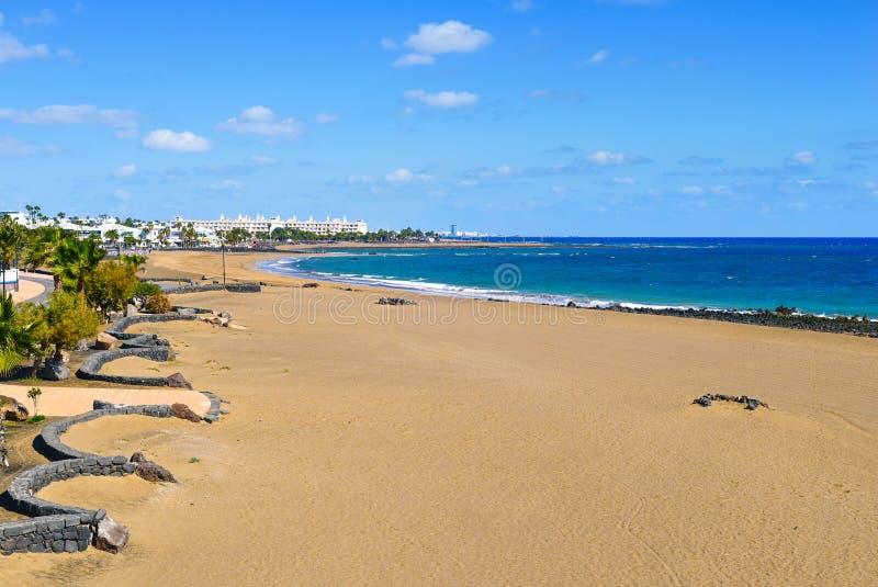 Playa de Matagorda beach in Lanzarote, Spain. A view of the Playa de Matagorda beach in Puerto del Carmen, Lanzarote, in the Canary Islands, Spain stock images