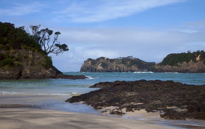 Playa de Matapouri, isla del norte, Nueva Zelandia fotografía de archivo