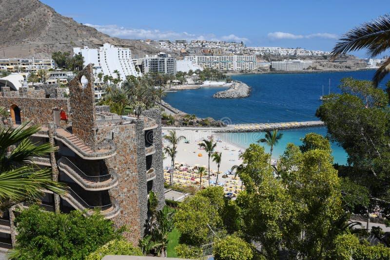 Playa de Mst del fel de Anfi, isla de Gran Canaria, España imagen de archivo