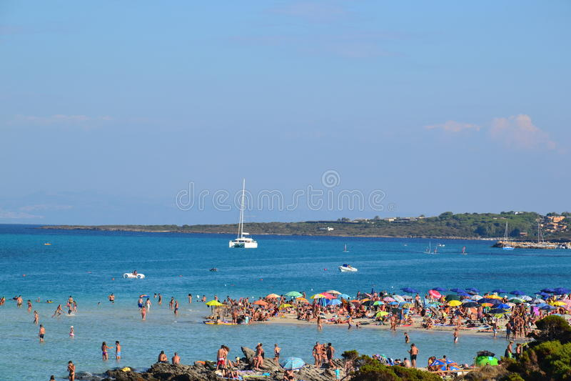 Playa de Pelosa del La en Cerdeña, Italia fotografía de archivo libre de regalías