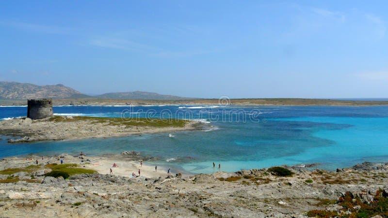 Playa de Pelosa en Cerdeña, Italia fotos de archivo libres de regalías