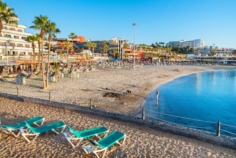 Playa de Pinta del La en Costa Adeje Tenerife, islas Canarias, España foto de archivo libre de regalías