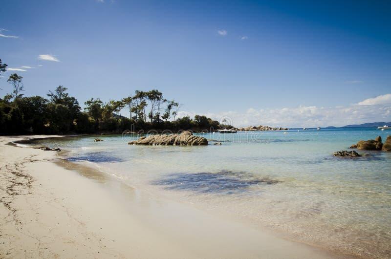 Playa de plata con agua límpida en Córcega imagen de archivo libre de regalías