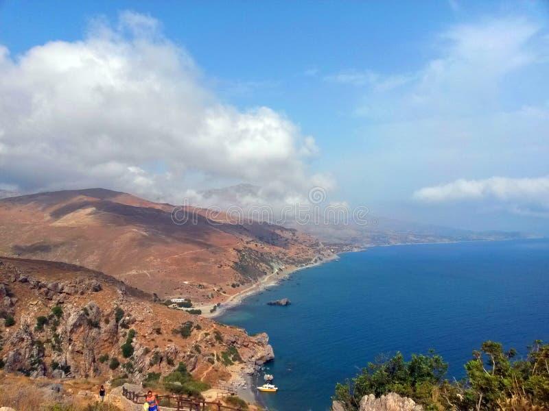 Playa de Preveli en la isla de Creta fotos de archivo