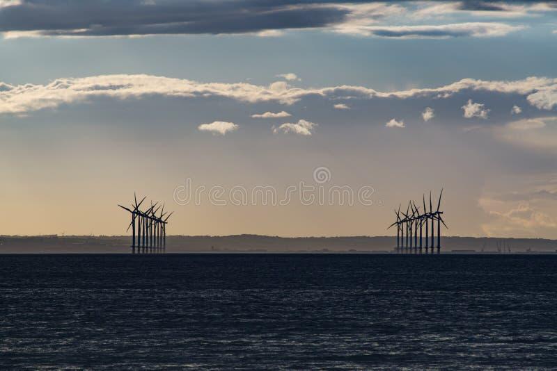 Playa de Redcar en la puesta del sol Norte al este de Inglaterra fotografía de archivo