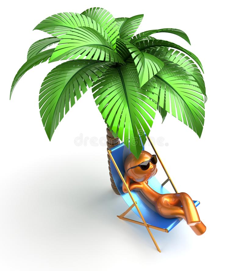 Playa de refrigeración de relajación de la palmera de la silla de cubierta del carácter del hombre libre illustration