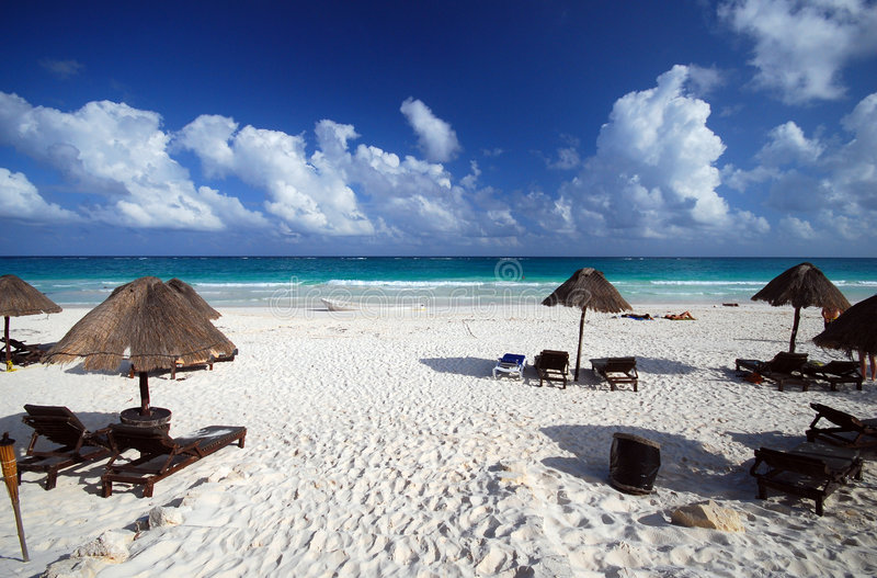 Playa de Riviera del maya imágenes de archivo libres de regalías